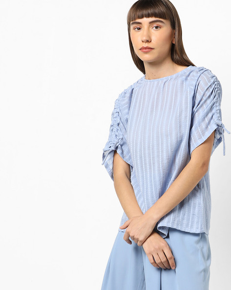 Self-Striped Top With Sleeve Tie-Ups By AJIO ( Blue )