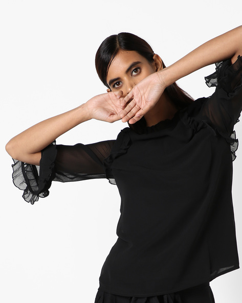 Sheer Top With Ruffled Trims By Oxolloxo ( Black )