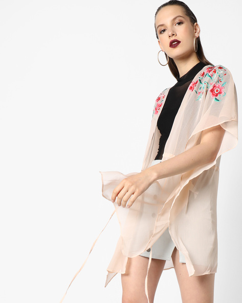 Floral Print Sheer Cover-Up By Oxolloxo ( Peach )