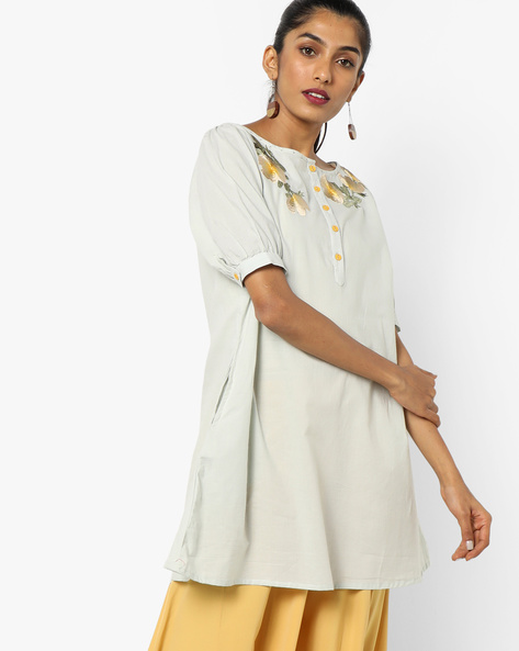 Tunic With Floral Embroidery By AJIO ( Lightblue )