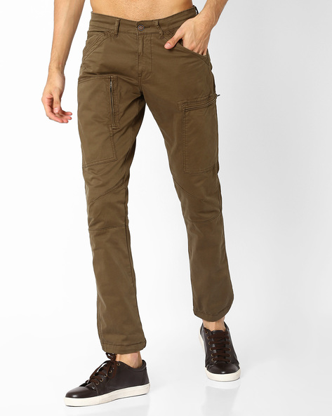 Slim Stretch Utility Trousers With Zip Pockets By AJIO ( Olive )