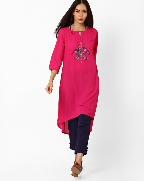 High-Low Kurta With Keyhole Neckline By Global Desi ( Pink )