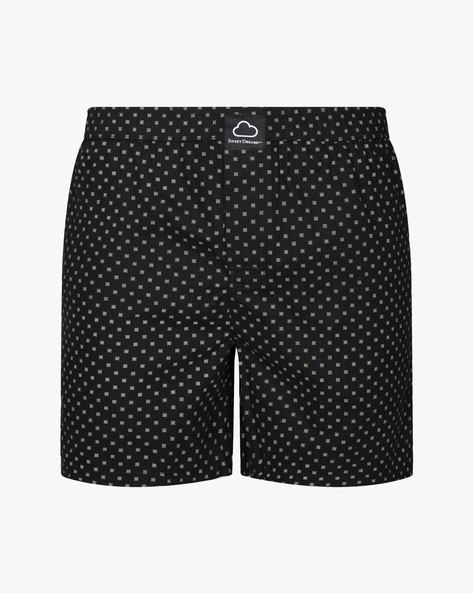 All-Over Print Boxer Shorts By Sweet Dreams ( Black )