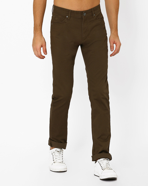 Flat-Front Straight Fit Trousers By Celio ( Khaki )