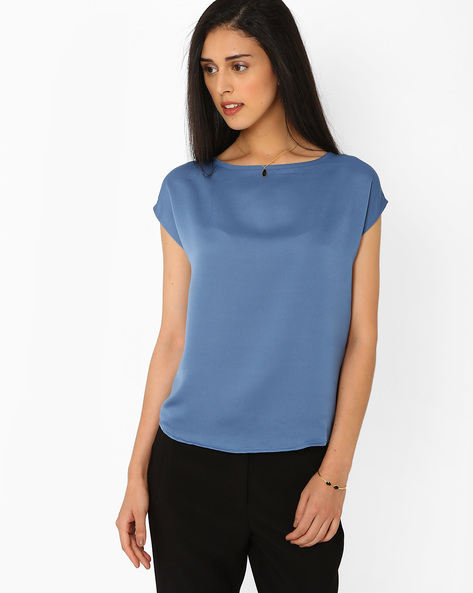 Top With Cap Sleeves By AJIO ( Blue )
