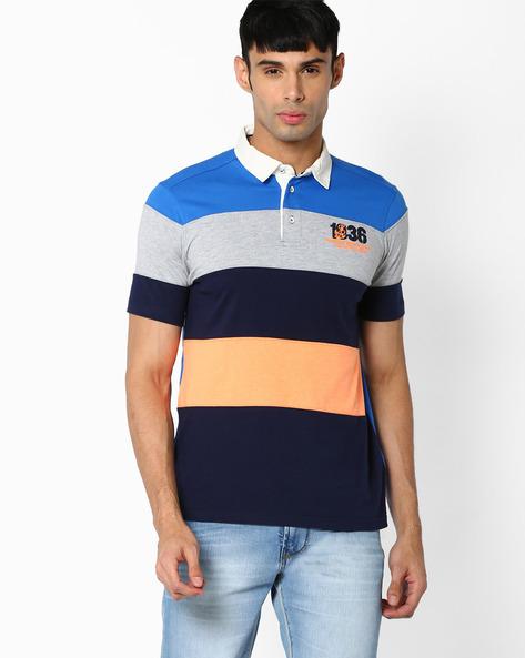 Striped Cut & Sew Polo T-shirt By Teamspirit ( Mediumblue )