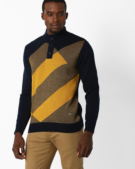Regular Fit Pullover With Geometric Pattern By NETPLAY ( Navy )