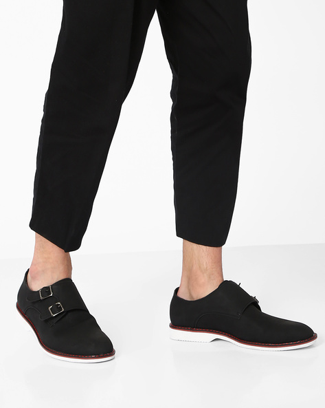 Faux Leather Casual Shoes By AJIO ( Black )