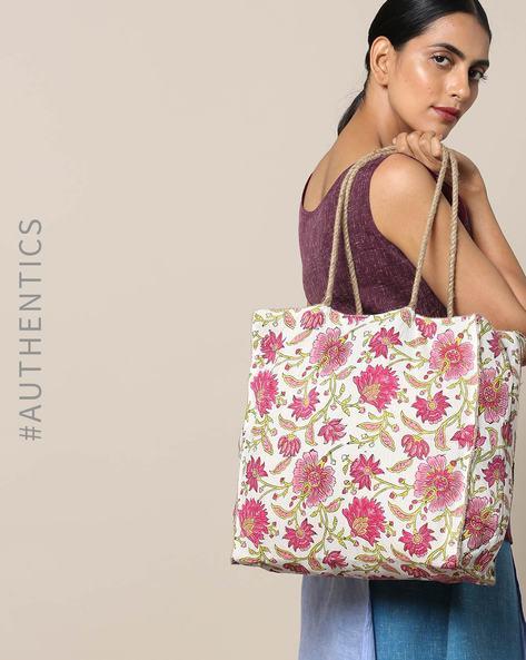 Sanganeri Handblock Print Cotton Jute Handbag By Awdhesh Kumar ( Fuchsia )