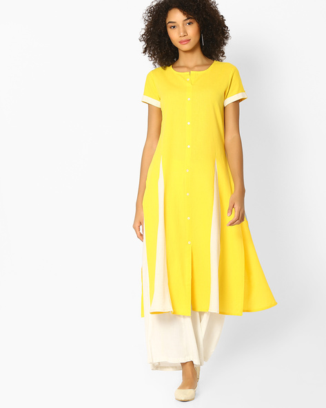 Flared Kurta With Button Placket By AVAASA MIX N' MATCH ( Yellow )