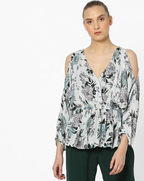 Floral Print Top With Cold-Shoulder Sleeves By Rena Love ( Multi ) - 460168358002