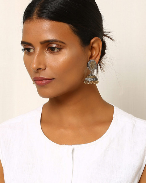 Two-Toned Floral Brass Jhumkas By Indie Picks ( Silver )