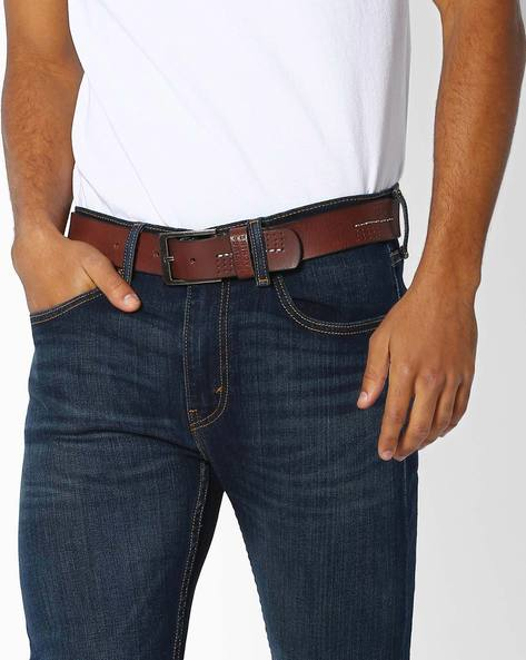 Leather Belt With Buckle Closure By FLYING MACHINE ( Brown ) - 460052996001