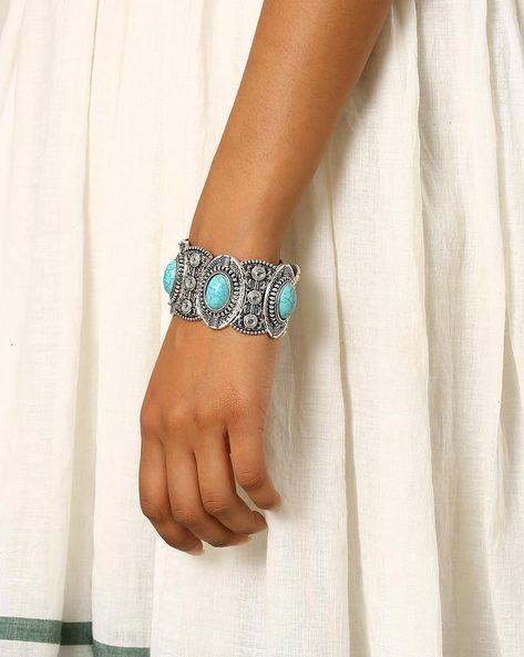 Metal Cuff Bracelet By Indie Picks ( Turquoise )