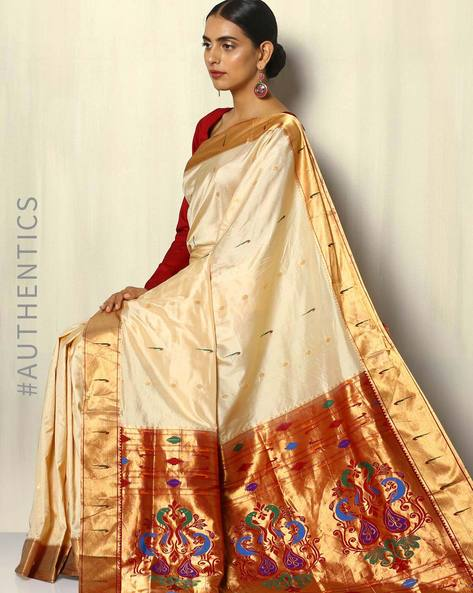 Handloom Paithani Pure Silk Saree With Zari Border By Pretty Woman ( Offwhite )