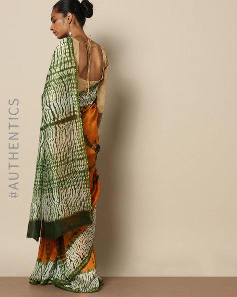Shibori Tie Dye Chanderi Saree With Zari By Indie Picks ( Multi ) - 460146855001