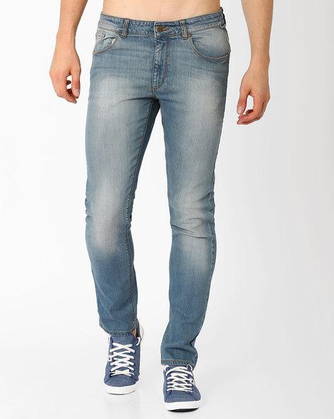 Lightly Washed Slim Fit Jeans By Blue Saint ( Indigo )