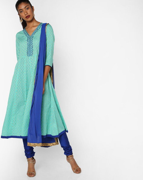 Printed Churidar Kurta With Dupatta By AJIO ( Turquoise )