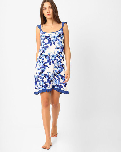 Floral Print Lounge Dress By Heart 2 Heart ( White )