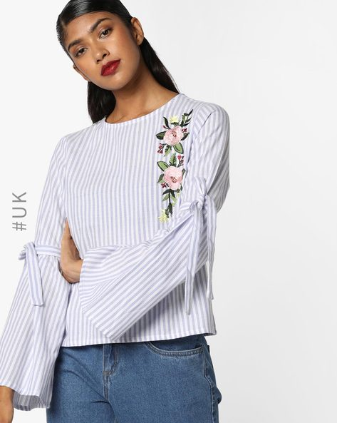 Striped Top With Embroidery By INFLUENCE ( Blue )