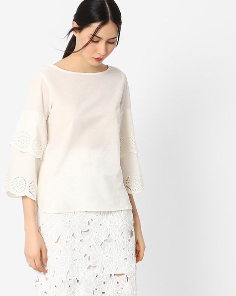 Top With Exaggerated Ruffled Sleeves By AJIO ( Offwhite )