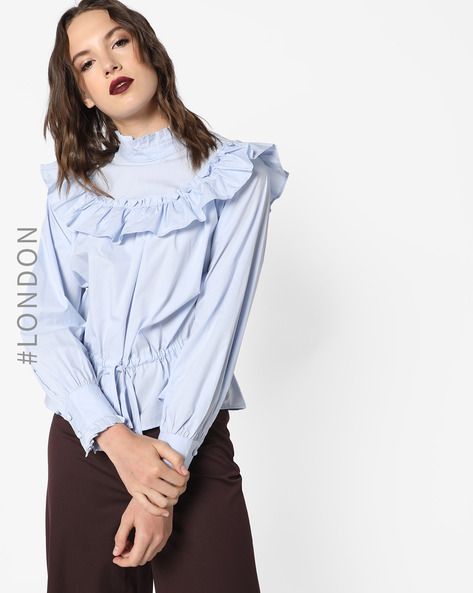 Peplum Top With Tie-Up By Glamorous ( Lightblue )