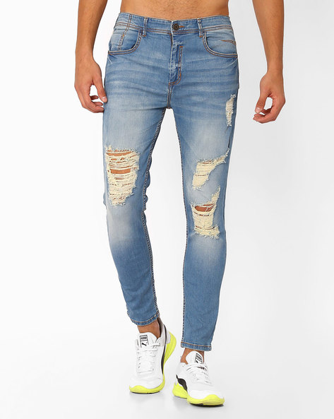 Heavily Distressed Slim Jeans By ADAMO LONDON ( Lightblue )