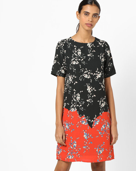 Floral Print Colourblock Shift Dress By UNITED COLORS OF BENETTON ( Multi )