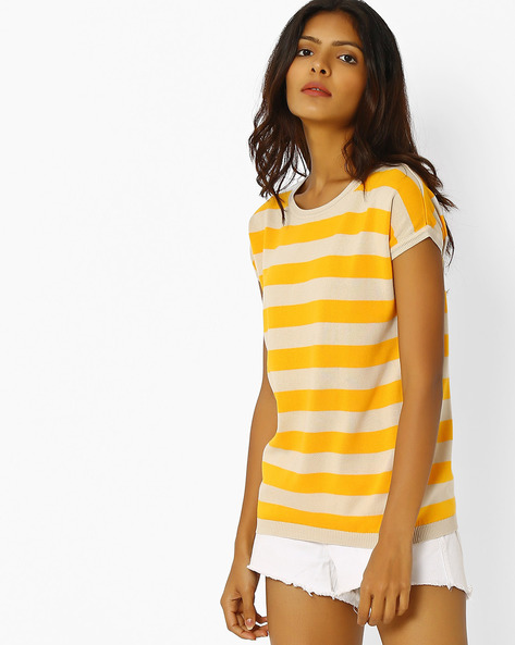 Striped Crew-Neck T-shirt By LEVIS ( Yellow )