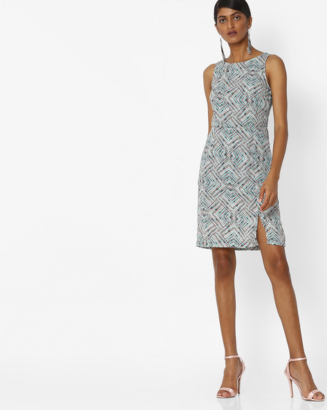 Printed Dress With Front Slit By Vero Moda ( Grey )