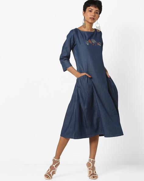 Denim A-line Dress With Insert Pockets By AJIO ( Indigo )