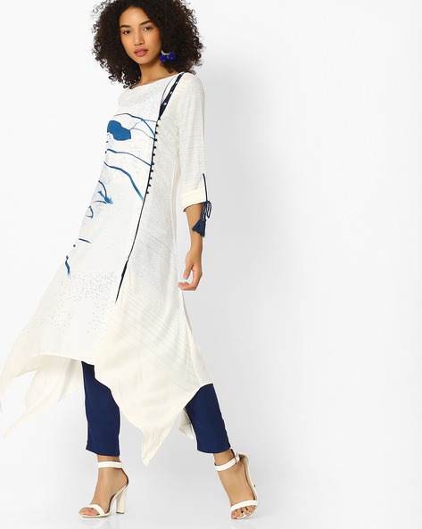 Asymmetric Kurta With Tassel Tie-Up By W ( White )