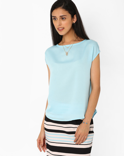 Top With Cap Sleeves By AJIO ( Lightblue )