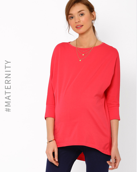 High-Low Maternity Top By AJIO ( Coral )