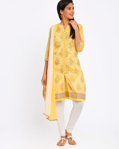Zari Embroidered Churidar Kurta With Dupatta By Trishaa By Pantaloons ( Yellow )