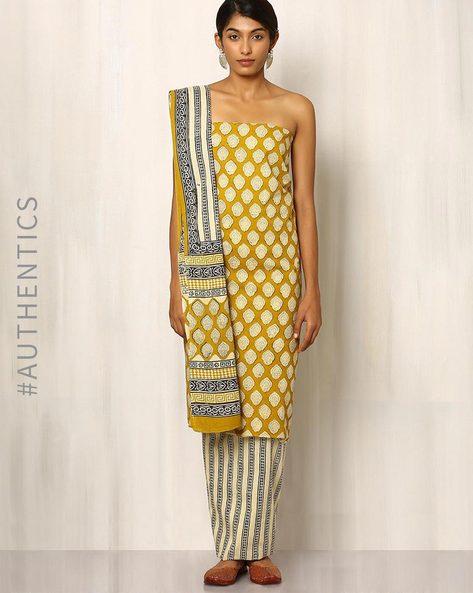 Bagru Print Cotton Dress Material By Indie Picks ( Mustard )
