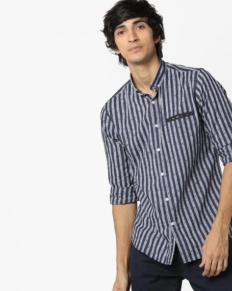 Striped Slim Fit Shirt With Welt Pocket By AJIO ( Navy )