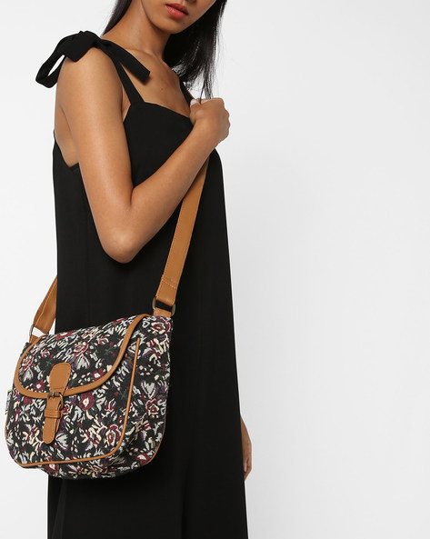 Jacquard Weave Sling Bag With Floral Pattern By Kanvas Katha ( Tan )