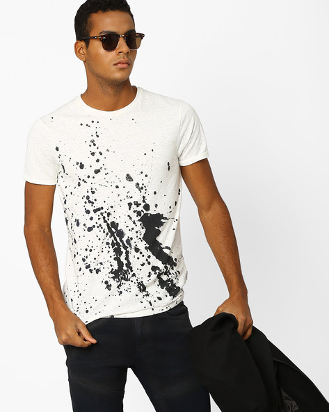 Splatter Print Slim Fit T-shirt By Jack & Jones ( Sblue )