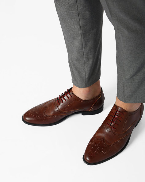 Faux-Leather N9-Treated Lace-Up Shoes By AJIO ( Bordo )