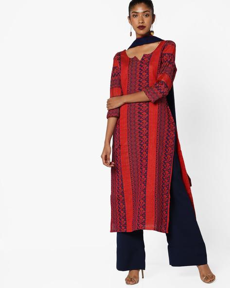 Woven Banarasi Cotton Unstitched Dress Material Set By Parmita ( Blue )