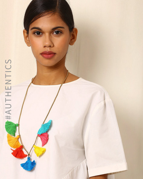 Handcrafted Designer Necklace With Tassels By Addoz ( Multi )