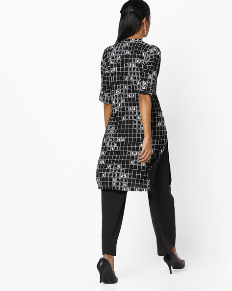 Checked Tunic With Notched Mandarin Collar By Global Desi ( Black )