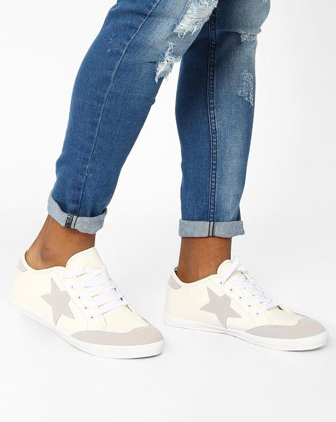 Low-Cut Sneakers With Lace-Up Fastening By AJIO ( White )