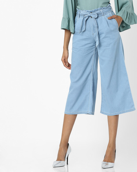 Mid-Rise Culottes With Tie-Up By AJIO ( Ice )
