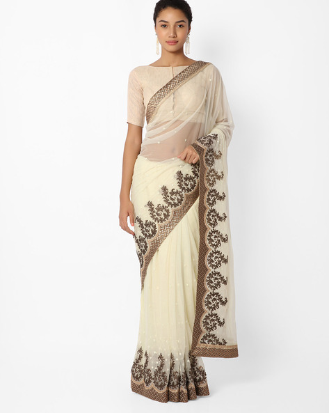 Embellished Saree With Embroidery By Mahotsav ( Beige )