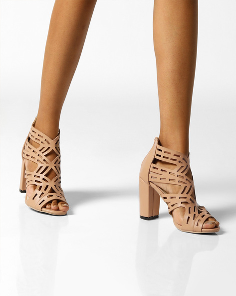 Laser-Cut Heeled Sandals By MFT Couture ( Nude )