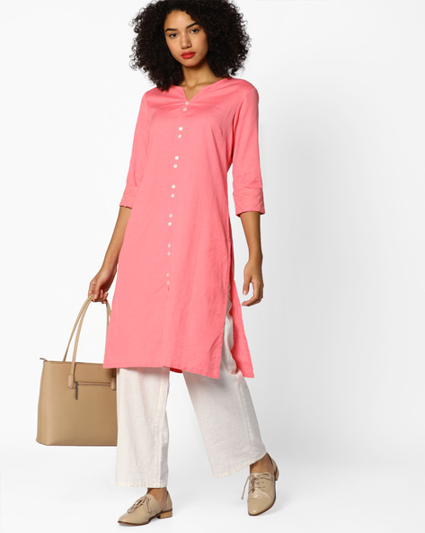 Straight Kurta With Embroidered Sleeves By AJIO ( Pink )