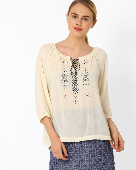 Top With Embroidered Yoke By CHM ( Offwhite )