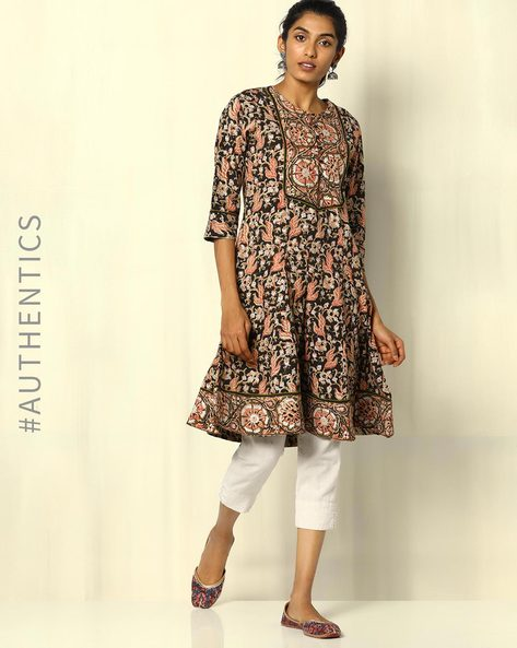 Floral Kalamkari Handblock Print Cotton Kurta By Indie Picks ( Multi )